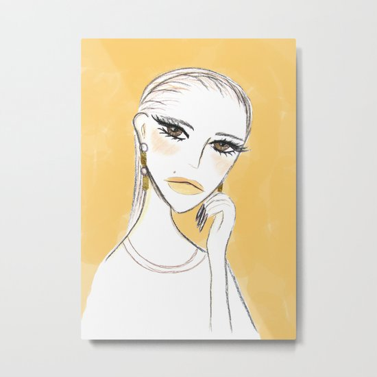 A girl with the foil earrings Metal Print