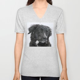 Black Dog in the Snow Unisex V-Neck