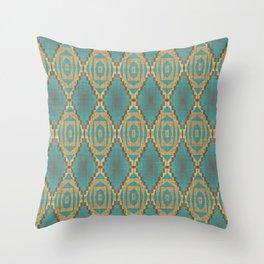 Teal Turquoise Khaki Brown Rustic Mosaic Pattern Throw Pillow