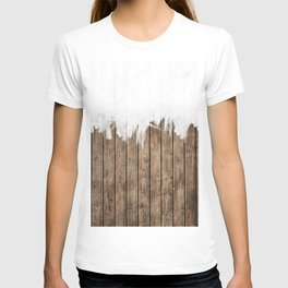 White Abstract Paint on Brown Rustic Striped Wood T-shirt