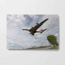 Emirates Airbus A380 Heathrow Airport Metal Print