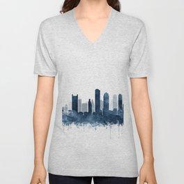 Boston City Skyline Blue Watercolor by zouzounioart Unisex V-Neck