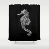 seahorse Shower Curtains featuring Seahorse by Tim Jeffs Art