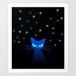 Glow in the Dark Cat Art Print