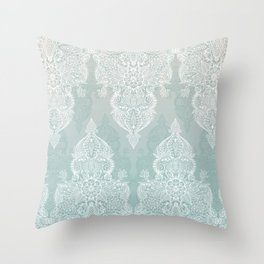 Lace & Shadows - soft sage grey & white Moroccan doodle Throw Pillow