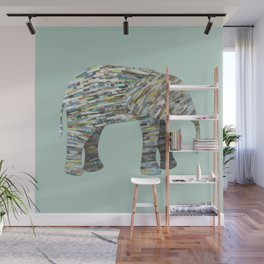 Elephant Paper Collage in Gray, Aqua and Seafoam Wall Mural