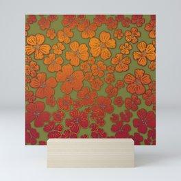 Flower show in orange-chili-olive Mini Art Print