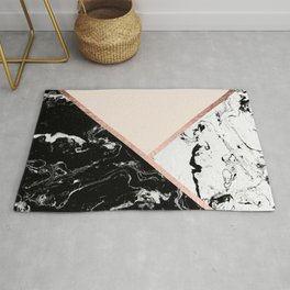 Modern black white marble rose gold color block stripes blush pink Rug