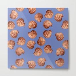 Blue Big Clams Illustration pattern Metal Print