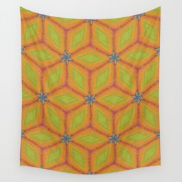 Green and Gold Tile Pattern Repeating Wall Tapestry