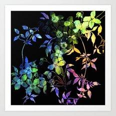 garland of flowers black version 2 Art Print