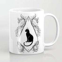 Black Cat Floral Coffee Mug