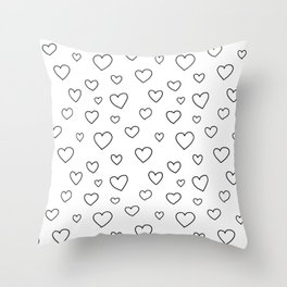 Doodle hearts black and white Throw Pillow