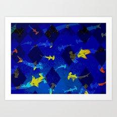 Argyle Frenzy in Lapis Art Print