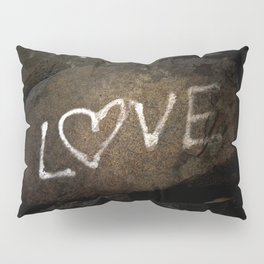 One Love Brown Rock with White Graffiti Photograph Pillow Sham