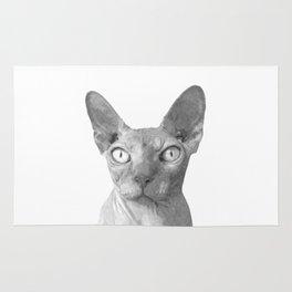 Black and White Sphynx Cat Rug