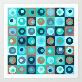 Circles and Squares Pattern 3 Art Print