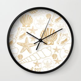 Gold Sea Shells on white Wall Clock