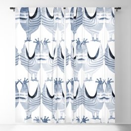 """Chickens from Your Barnyard, in Blue"" by Murray Bolesta Blackout Curtain"