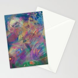 WHEN YOU LOSE THE QUIETGAME, a colorful collidescope art piece about a step off the end of space Stationery Cards