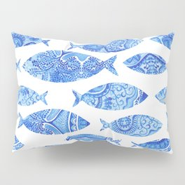 Folk watercolor fish pattern Pillow Sham
