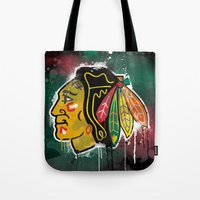 blackhawks Tote Bags featuring chicago blackhawks hockey by abstract sports
