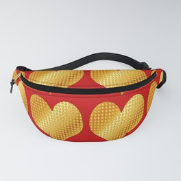 Golden hearts-Red Fanny Pack
