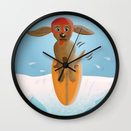 Surf Dog on Top of the Wave Wall Clock