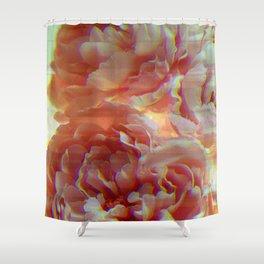 Glitching Peonies Shower Curtain