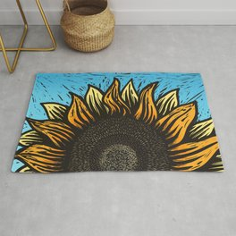 Here Comes The Sunflower Woodcut Rug