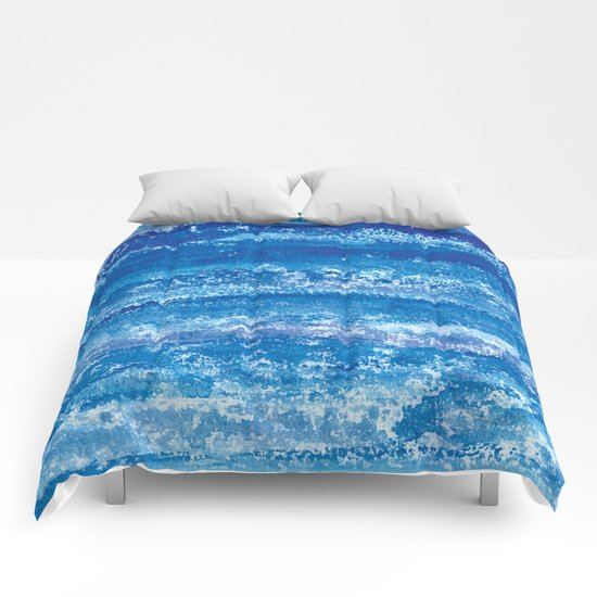 Blue Watercolor & Lace Water Print by metroshowercurtains
