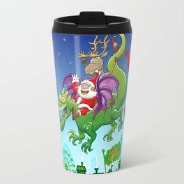 Santa changed his reindeer for a dragon Travel Mug