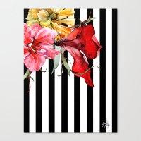 flora Canvas Prints featuring FLORA BOTANICA | stripes by Cheryl Daniels