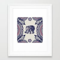 elephant Framed Art Prints featuring Elephant Pink by rskinner1122