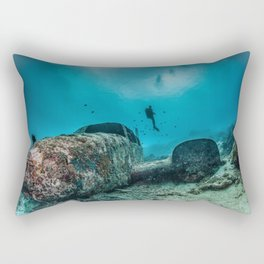 shipwreck and diver Rectangular Pillow