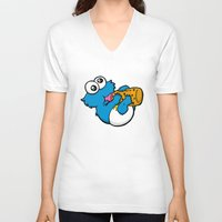cookie monster V-neck T-shirts featuring Cookie Juice by BinaryGod.com
