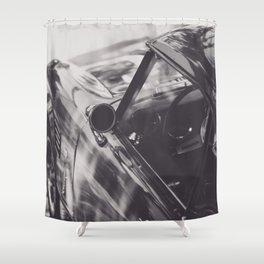 Triumph spitfire, classic sports car, elegant english car, black & white photo Shower Curtain