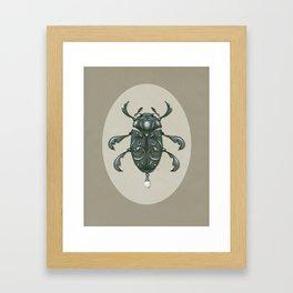 Graphite Scroll Beetle Framed Art Print