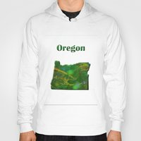 oregon Hoodies featuring Oregon Map by Roger Wedegis