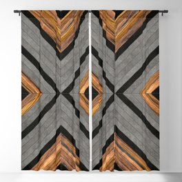 Urban Tribal Pattern 2 - Concrete and Wood Blackout Curtain