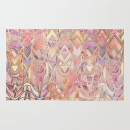 Glowing Coral and Amethyst Art Deco Pattern Rug