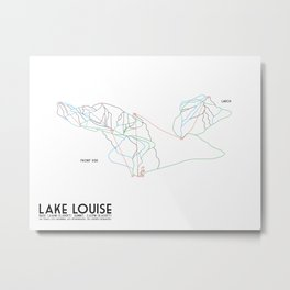 Lake Louise, Canada - Front - Minimalist Winter Trail Art Metal Print