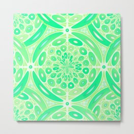 Kiwi green geometric Metal Print