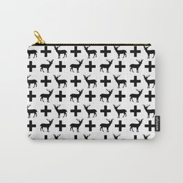 Deer Plus - Black and white deer pattern designs with plus sign perfect cell phone case gift ideas Carry-All Pouch
