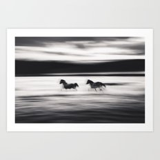 Horses in Abstract Art Print