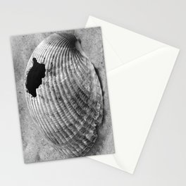 broken shell, black and white Stationery Cards