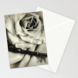 Faded Rose and Old Key Vintage Style Modern Country Cottage A440 Stationery Cards