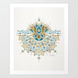 Sacred Lotus Mandala – Teal & Bronze Palette Art Print