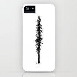Love in the forest - a couple and their dog under a solitary, towering Douglas Fir tree iPhone Case