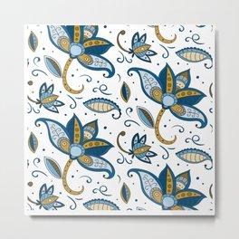 Watercolor Flower Pattern Art Design Metal Print